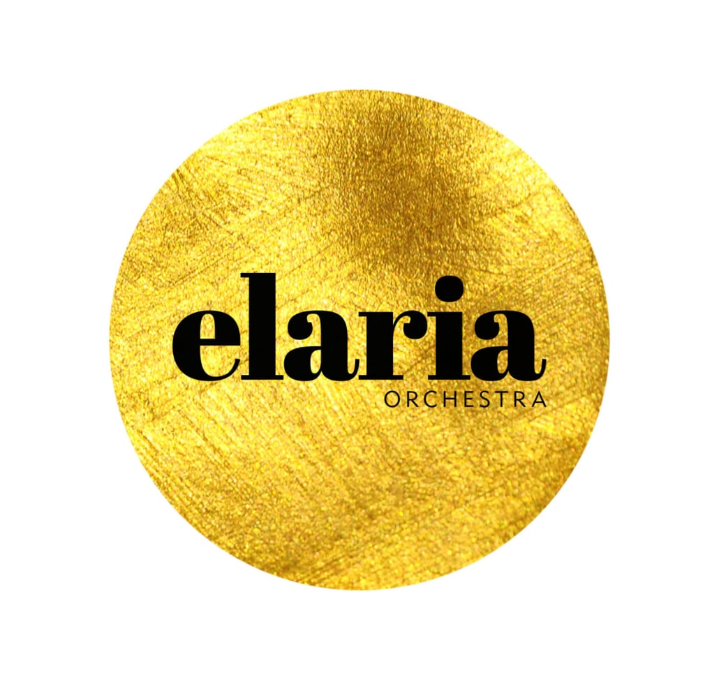 elaria logotype black on gold